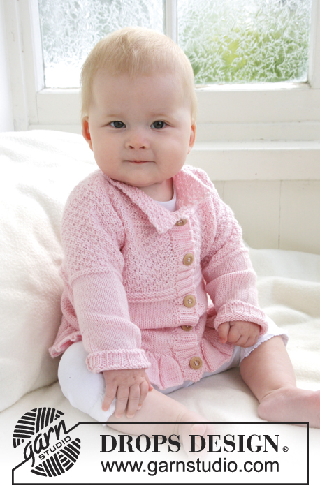 Lea / DROPS Baby 21-14 - Knitted jacket with wavy edge and textured pattern for baby and children in DROPS BabyAlpaca Silk