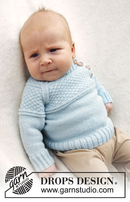Knitting Pattern Raglan Jumper : McDreamy / DROPS Baby 21-15 - DROPS jumper with textured pattern and raglan s...