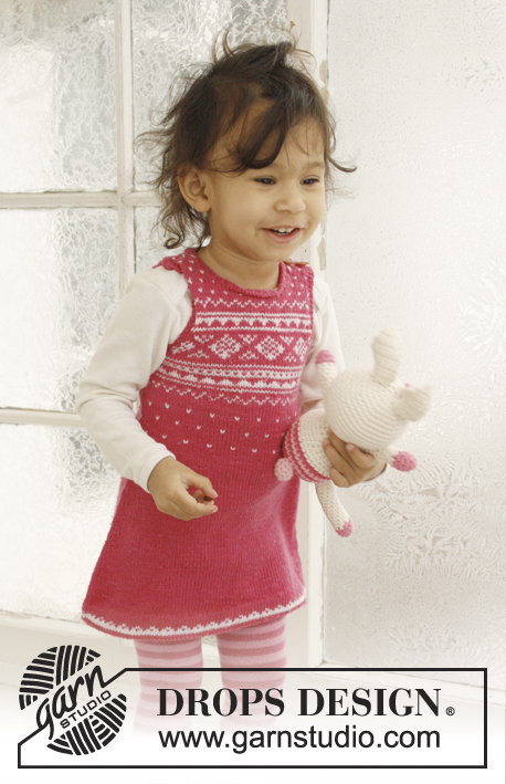 Princess Dream / DROPS Baby 21-17 - Knitted dress with Nordic pattern for baby and children in DROPS BabyMerino