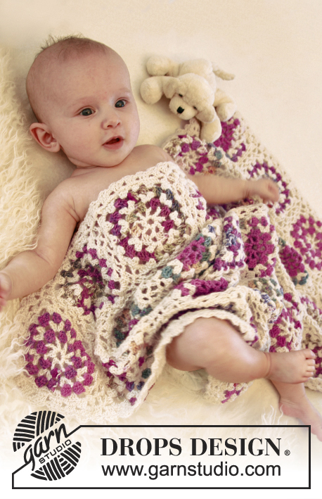 Circles of love / DROPS Baby 21-19 - Crochet baby blanket with granny squares in DROPS Fabel