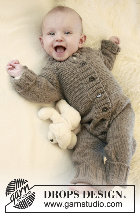Happy Days / DROPS Baby 21-23 - Knitted overall with raglan for baby and children in DROPS Merino Extra Fine