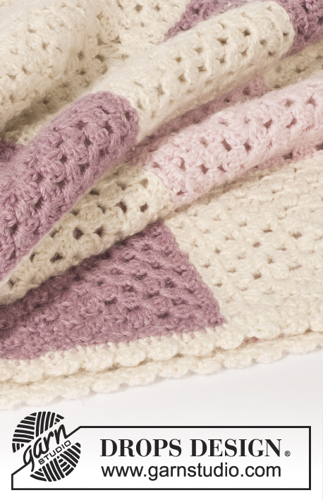 Wrap With Love / DROPS Baby 21-27 - Crochet baby blanket with granny squares in DROPS BabyAlpaca Silk