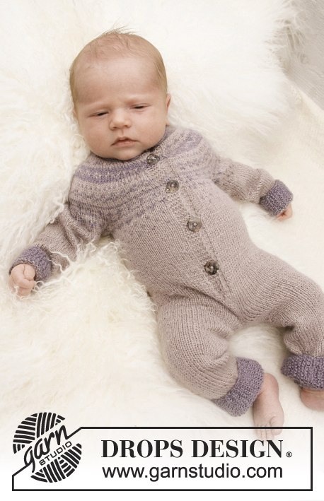 Winter Wonder / DROPS Baby 21-3 - Knitted jumpsuit with Nordic pattern for baby and children in DROPS BabyAlpaca Silk