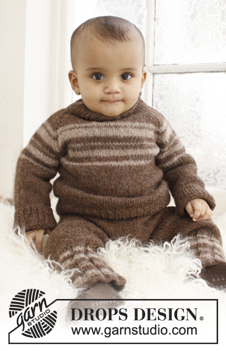Little William / DROPS Baby 21-30 - Set of knitted pants and jumper with raglan and stripes for baby and children in DROPS Lima