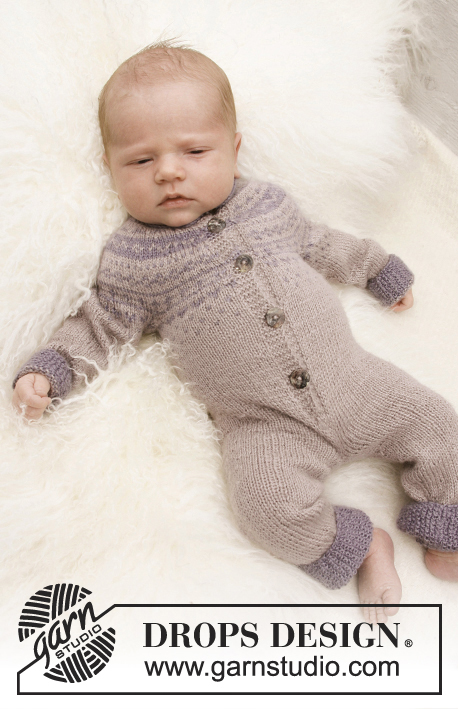 Wonderchild / DROPS Baby 21-4 - Set of knitted hat and jumpsuit with Nordic pattern for baby and children in DROPS BabyAlpaca Silk