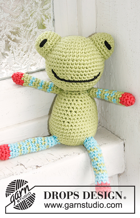 Frankie / DROPS Baby 21-45 - Crochet frog in DROPS Paris