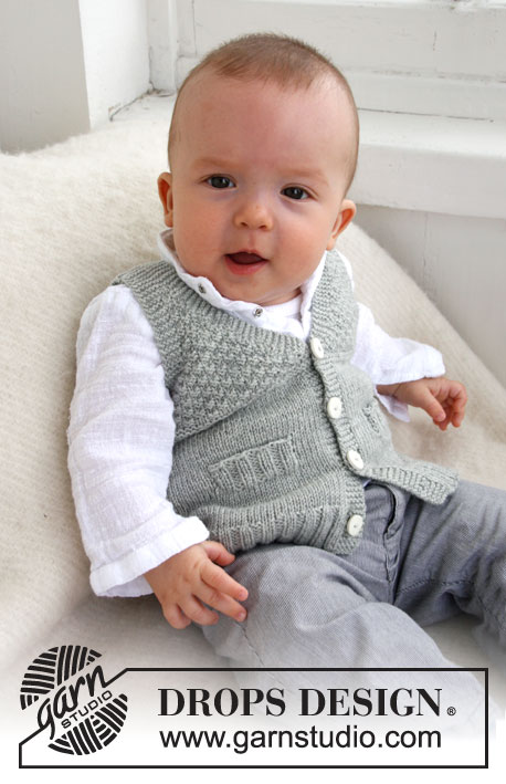 Junior / DROPS Baby 21-8 - Knitted vest with V-neck and textured pattern for baby and children in DROPS BabyMerino or DROPS BabyAlpaca Silk