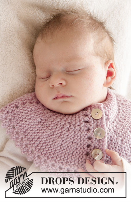 Serene / DROPS Baby 25-5 - Knitted baby neck warmer with picot edge in DROPS Karisma.