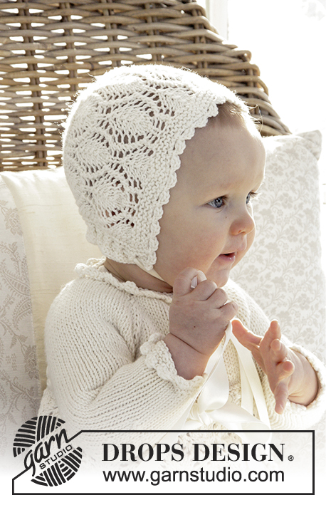 My Fairy / DROPS Baby 29-1 - This set is made up of: Dress for Christening or special occasions worked top down with raglan and lace pattern in DROPS Cotton Merino. Knitted hat with lace pattern in DROPS Cotton Merino. Baby sizes 0 - 2 years.
