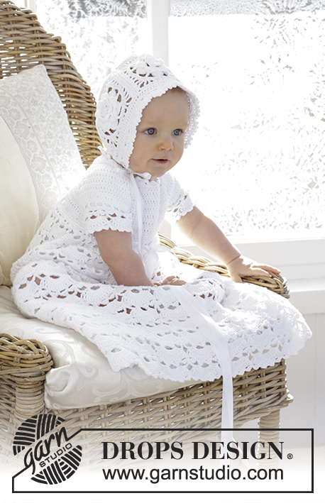So Charming / DROPS Baby 29-3 - The baby set is made up of: Dress for Christening or special occasions, worked top down with raglan and open fan pattern in DROPS Safran. Crochet hat with flower squares and fan edge in DROPS Safran. Sizes 0 - 2 years.
