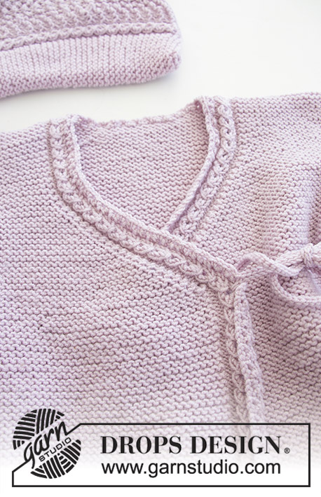 Hello Kitten / DROPS Baby 29-9 - The set consists of: Hat for baby with garter stitch, wave pattern and earflaps. Wrap-around jacket and trousers with garter stitch and lace pattern. 