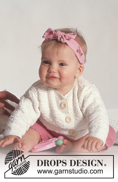 "Bunny Hugs / DROPS Baby 3-17 - DROPS jacket with textured pattern and shorts in ""Safran""."
