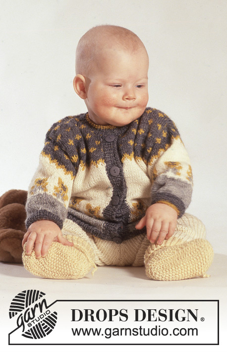 Teddy Top / DROPS Baby 3-19 - Knitted jacket with teddy bear, pants and socks DROPS Alpaca for baby and kids size 3 months to 3 years.