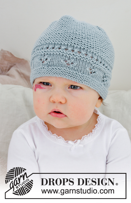 fa22b993c62 Knitted baby hat with lace pattern and garter stitch. Sizes premature – 4  years. The piece is worked in DROPS BabyMerino.