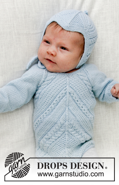 Celestina / DROPS Baby 31-6 - Knitted baby body with lace pattern and cables. Sizes premature - 4 years. Piece is worked in DROPS BabyMerino.