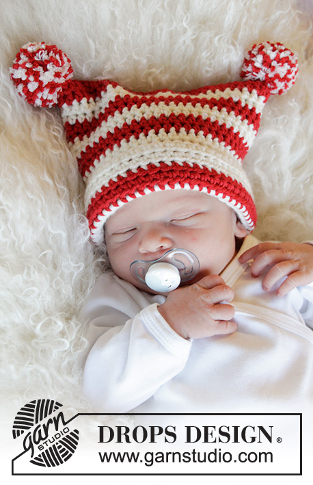 Tiny Elf / DROPS Baby 33-5 - Crocheted hat for baby in DROPS Merino Extra Fine. Piece is crocheted with stripes and pompoms. Size premature - 4 years