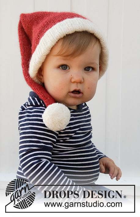 Sleepy Santa Hat / DROPS Baby 36-12 - Knitted Santa hat for babies in DROPS Air. The piece is worked in stocking stitch and rib. Sizes 0/1 months – 2 years. Theme: Christmas.