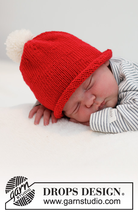 Itsy Bitsy Santa / DROPS Baby 36-15 - Knitted Christmas hat for baby and children in DROPS BabyMerino. Sizes: Premature – 4 years. Theme: Christmas.