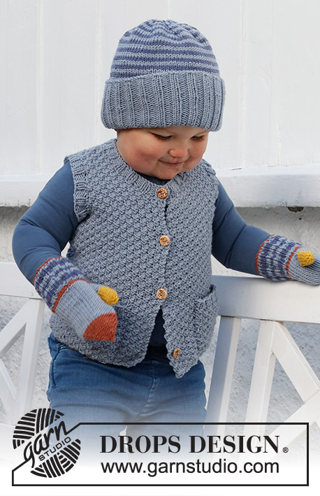 Fun Outside Set / DROPS Baby & Children 38-16 - Strikket lue og votter til baby og barn i DROPS Merino Extra Fine med striper.