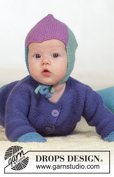 "Colourful Dreams / DROPS Baby 4-18 - DROPS jacket, trousers, hat, mittens, booties and scarf in garter st in ""BabyMerino. Blanket in ""Karisma""."