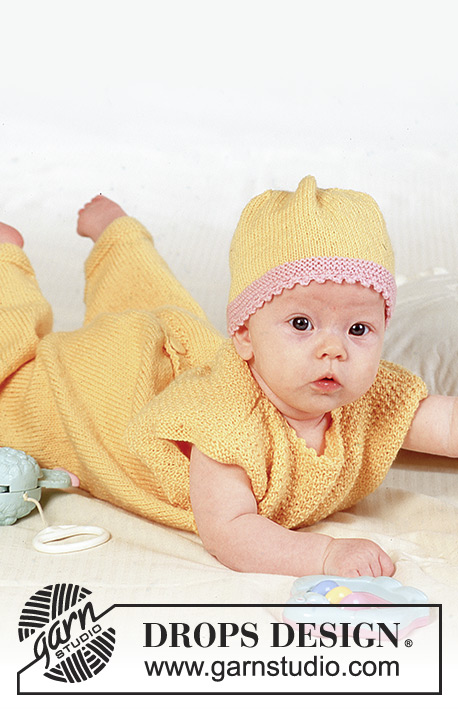 "Sweet Snuggles / DROPS Baby 4-3 - DROPS jacket, jumpsuit or dress, hat and socks in ""BabyMerino""."