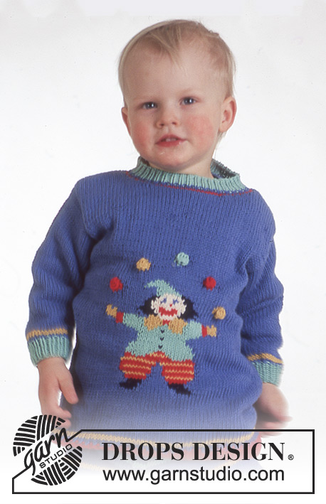 Clown in Town / DROPS Baby 4-5 - DROPS jumper with clown motif and trousers in Muskat or Lima.