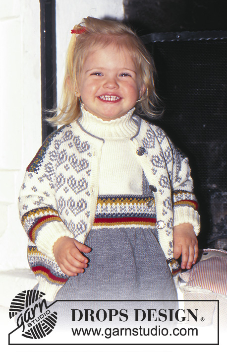 Alpine Joy / DROPS Baby 5-6 - Cardigan, Sweater, Skirt, and Socks in Alpaca with Norwegian Pattern