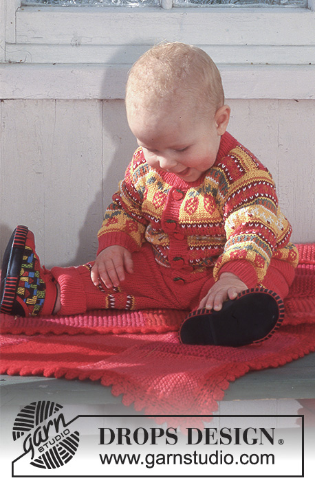 Fun and Berries Blanket / DROPS Baby 6-26 - DROPS Baby Blanket in Karisma Super Wash or Muskat Soft with squares.