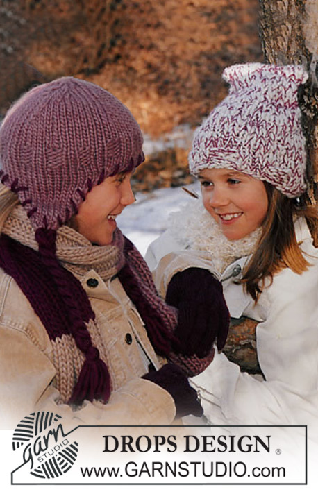 DROPS Children 12-3 - Hat, scarf and gloves in Eskimo and Karisma Superwash