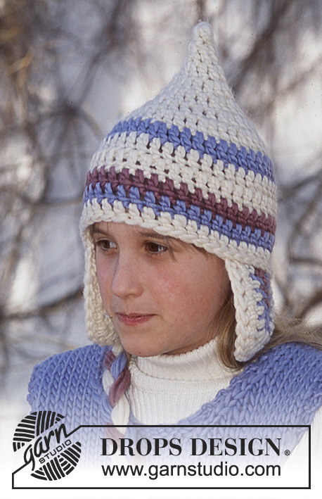 Snow Gnome Hat / DROPS Children 12-52 - Crochet hat with ear flaps in DROPS Eskimo. Sizes 3/5 – 6/9 – 10/14 years.