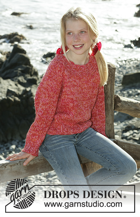 Sea Belle / DROPS Children 15-12 - DROPS sweater with raglan in 2 strands Alpaca and 1 strand Safran
