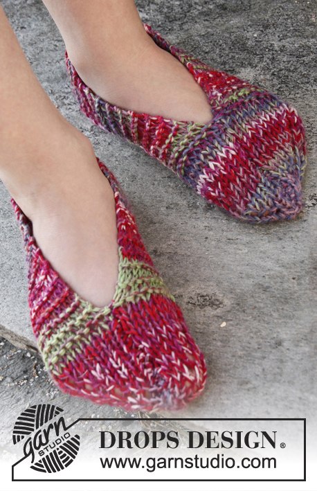 Bianca / DROPS Children 22-23 - Knitted DROPS slippers in 2 threads Fabel. 