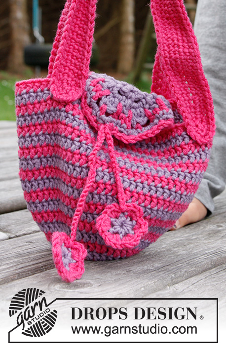 "Flower Carrier / DROPS Children 22-28 - Crochet DROPS bag with flowers in ""Karisma""."