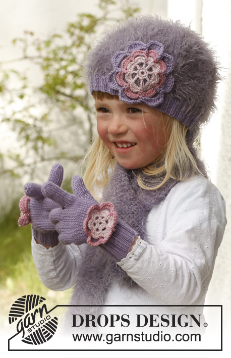 Michelle / DROPS Children 23-12 - Knitted beret with crochet flower and scarf in garter st, in DROPS Symphony and DROPS BabyMerino. Size children 3 to 12 years.