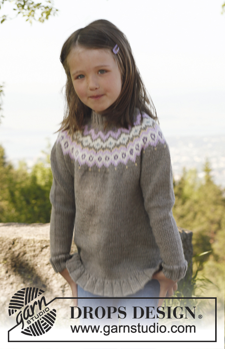 Silje jacket / DROPS Children 23-15 - Knitted jacket with round yoke and flounce in DROPS Karisma. Size children 3 to 12 years.