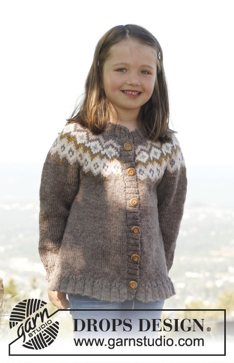 Silje jumper / DROPS Children 23-16 - Knitted DROPS jumper with round yoke and flounce in Merino Extra Fine. Size 3 to 12 years.