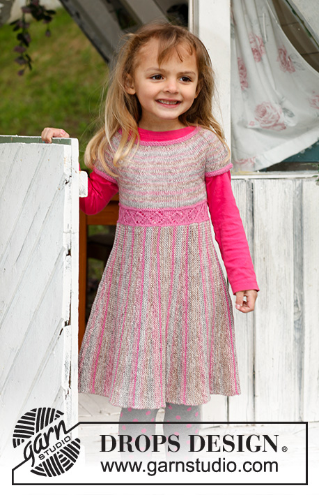 Twirly Girlie / DROPS Children 23-2 - Knitted dress with round yoke and skirt in garter st worked from side to side with short rows, in DROPS Fabel. Size children 3 to 12 years
