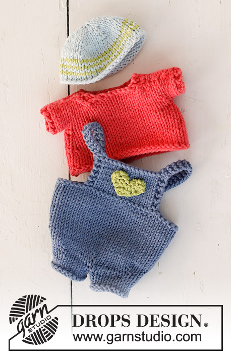 Malcolm / DROPS Children 23-24 - Knitted DROPS boy doll with removable clothe...