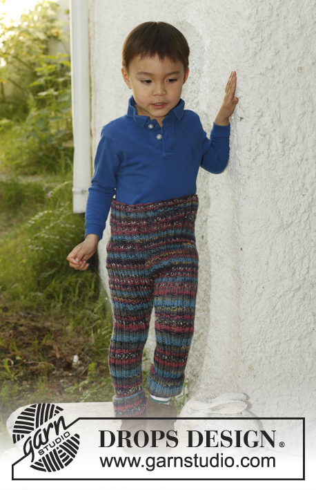 Wooliam / DROPS Children 23-41 - Knitted DROPS pants in rib in 1 thread Big Fabel og 2 threads Fabel. Size 3 to 12 years.