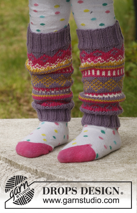 "Fideli leg-warmers / DROPS Children 23-44 - Knitted DROPS leg warmers with pattern in ""Merino Extra Fine"". Size 3 - 12 years."