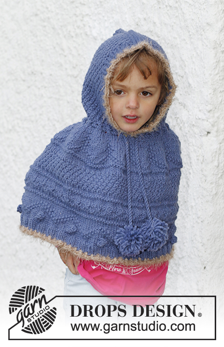 Hermione / DROPS Children 23-47 - Knitted poncho with textured pattern, hood and pompoms in DROPS Nepal. Size children 3 to 12 years.