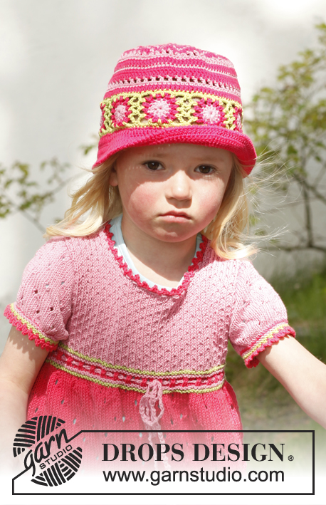 Sweet berry dress / DROPS Children 23-49 - Knitted dress with short sleeves and granny squares in DROPS Safran. Size children 3 to 12 years.