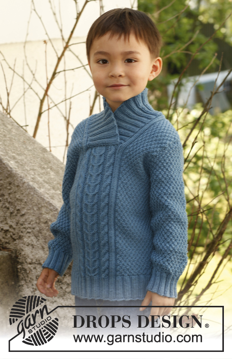 Mr. Darcy / DROPS Children 23-9 - Knitted jumper with cables, textured pattern and shawl collar in DROPS Merino Extra Fine. Size children 3 to 12 years.
