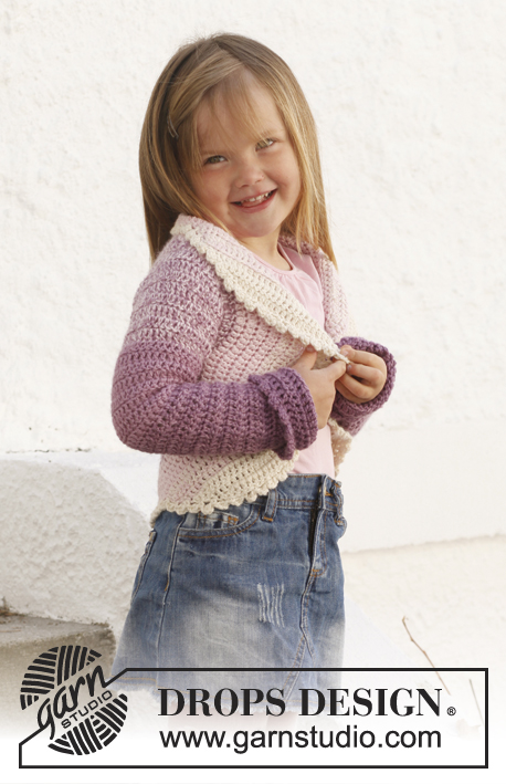 Princess Petal / DROPS Children 24-1 - Circle jacket crocheted in 2 strands DROPS BabyAlpaca Silk. Size children 3 - 12 years.