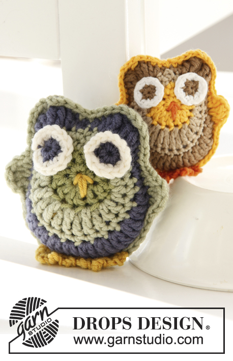 Archimedes / DROPS Children 24-12 - Crochet owls in DROPS Merino Extra Fine or DROPS Safran