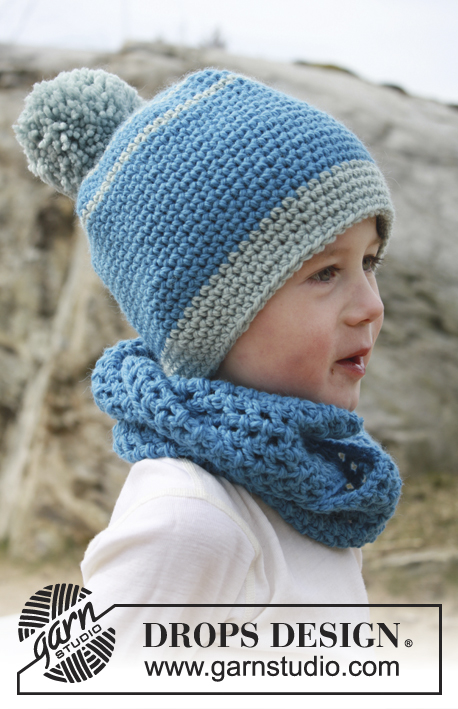 Garden Play / DROPS Children 24-41 - Bonnet et snood au crochet pour enfant en DROPS Nepal