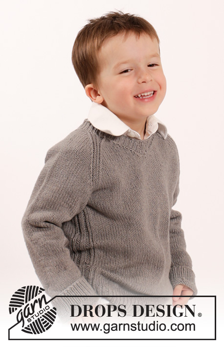 Funny Phil / DROPS Children 26-9 - Knitted sweater with raglan and v-neck in DROPS Belle. Size children 2 - 10 years