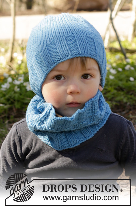 Bluebeard / DROPS Children 27-15 - Set of knitted neck warmer and hat with textured pattern in DROPS Nepal. Size children 1 - 10 years