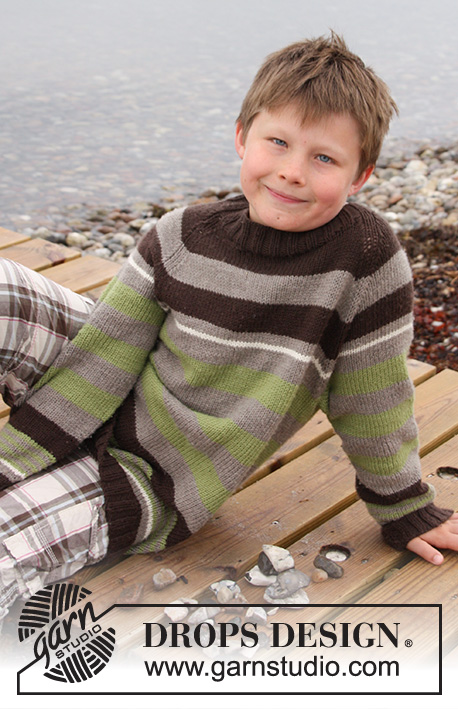 Sticks and Stones / DROPS Children 27-18 - Bluse med striber og raglan, strikket ovenfra og ned i DROPS Merino Extra Fine til børn str 3 til 14 år
