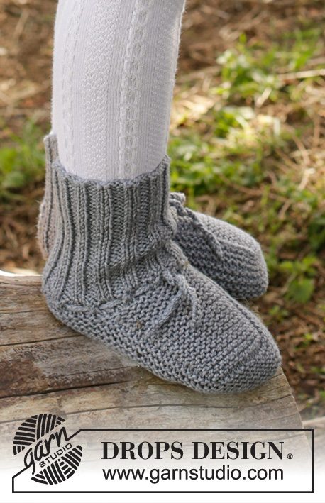Juniper Pie / DROPS Children 27-22 - Knitted slippers in garter st in DROPS Cotton Merino for baby and children. Size 0 - 4 years